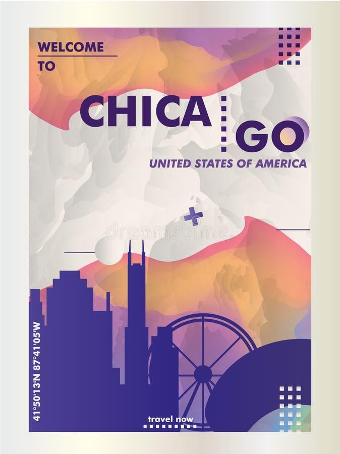Vecto градиента города горизонта США Соединенных Штатов Америки Чикаго иллюстрация штока