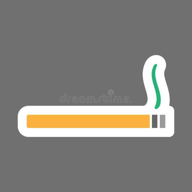 Vecto barwił majcherów papierosy z dymem Wektorowi papierosy ilustracji