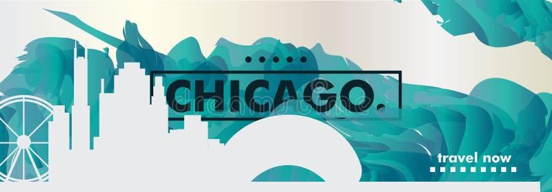 Vecto de la pendiente de la ciudad del horizonte de los E.E.U.U. los Estados Unidos de América Chicago ilustración del vector