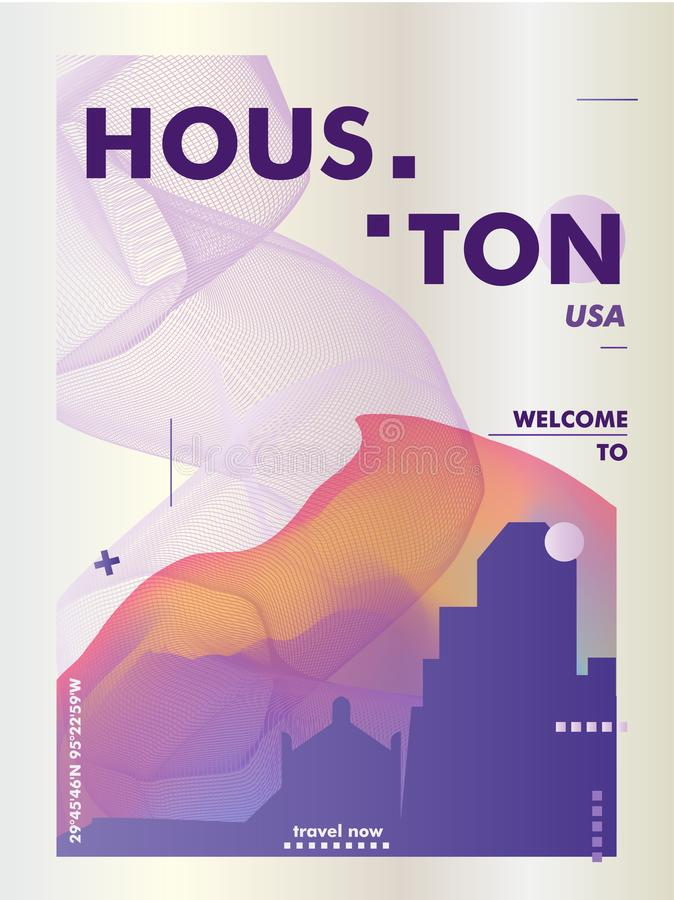 Vecto de la pendiente de la ciudad del horizonte de los E.E.U.U. los Estados Unidos de América Houston stock de ilustración