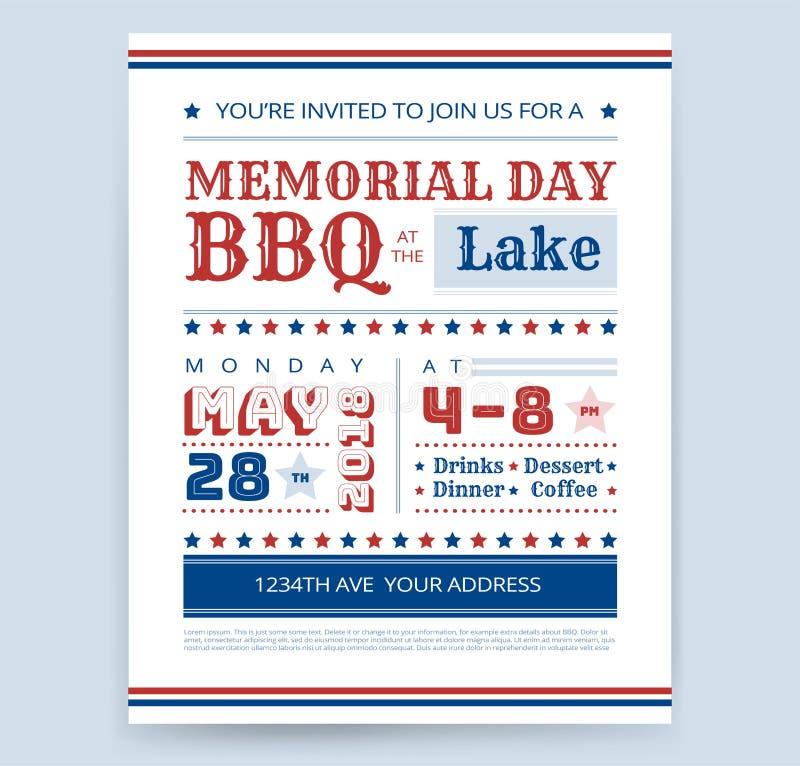 Vecto de la plantilla del diseño de la invitación del aviador del Bbq de la barbacoa de Memorial Day stock de ilustración