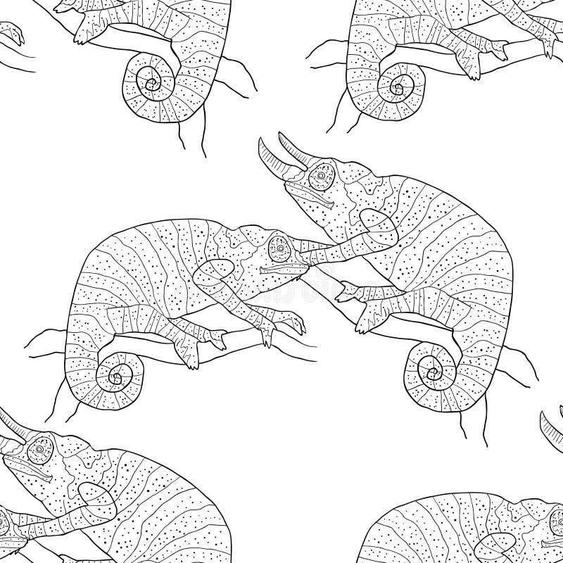 Vecto för reptil för sömlösa par för modellfärgläggningkameleont exotisk vektor illustrationer