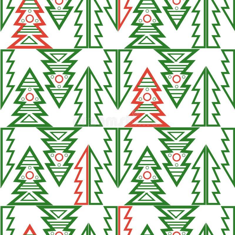 Vecto geométrico del modelo del feliz extracto inconsútil del árbol de navidad libre illustration