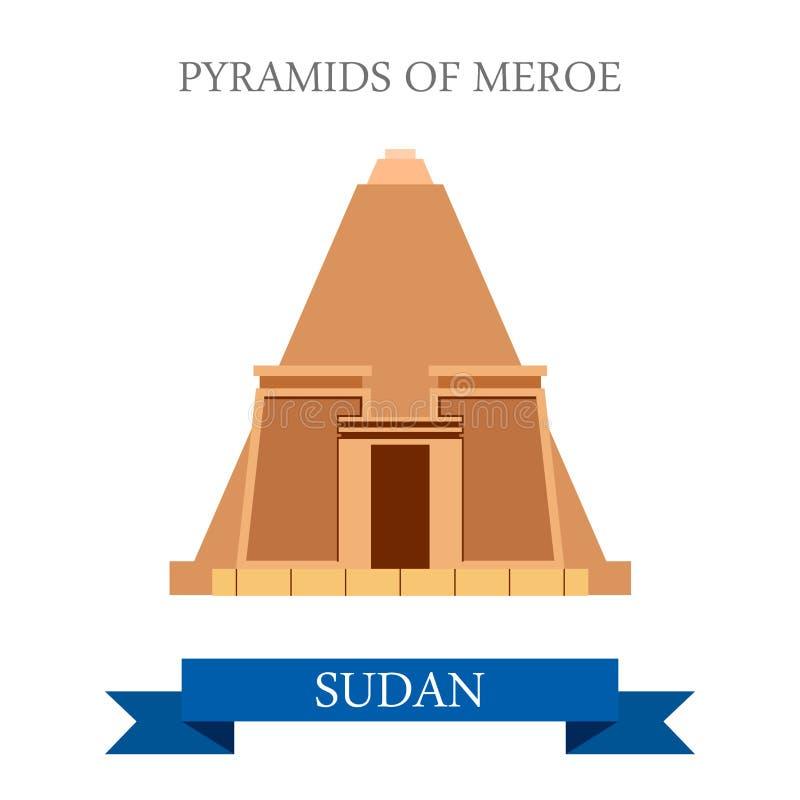 Vecto histórico del web del estilo plano de Meroe Sudán de las pirámides stock de ilustración