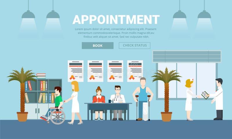 Vecto liso do projeto da nomeação dos cuidados médicos da medicina ilustração stock