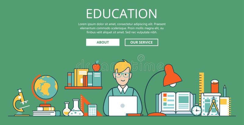 Vecto liso linear do Web site da educação do portátil do estudante ilustração royalty free
