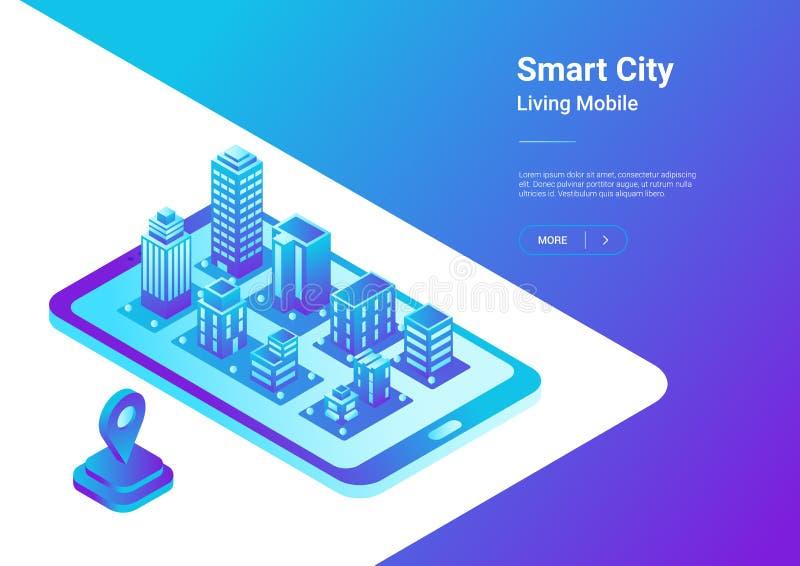 Vecto móvel da navegação do mapa liso isométrico da cidade 3D ilustração stock