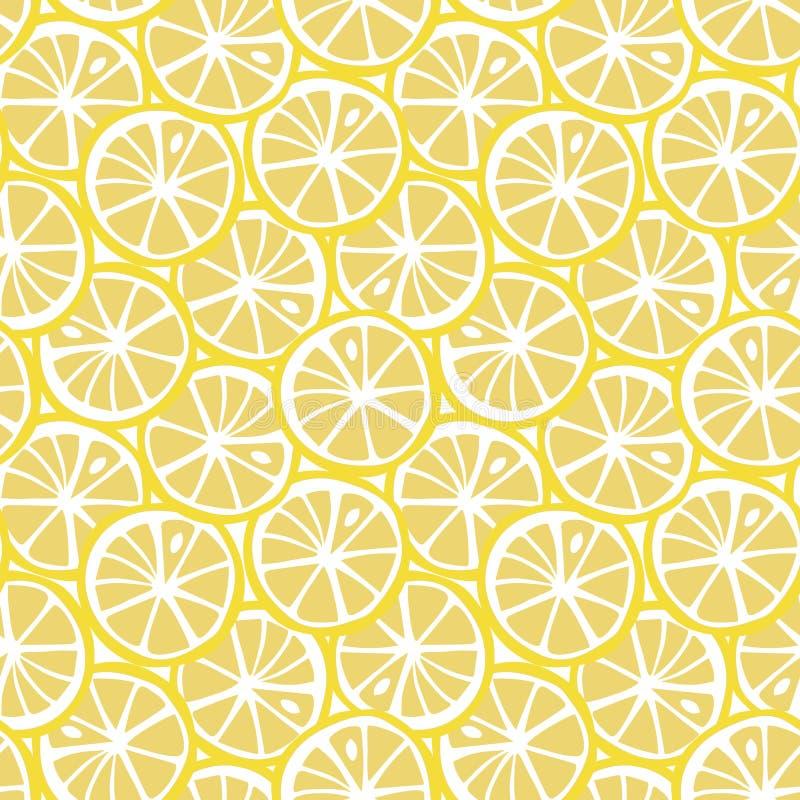 Vecto sans couture de citron de fruit d'agrume de modèle tropical jaune d'été illustration libre de droits