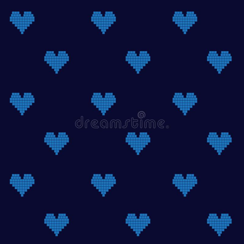 Vecto sans couture de Pixelated de fond numérique bleu électrique de coeurs illustration stock