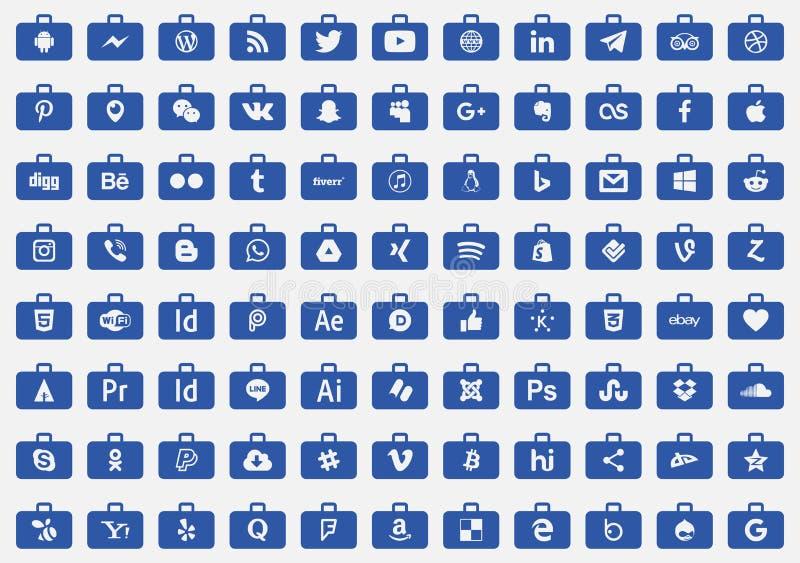 vecto social de série de médias d'icônes illustration de vecteur