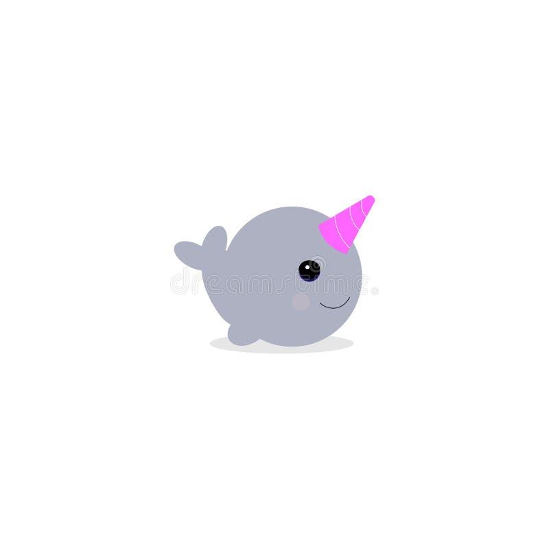 Vectoe illustraton 在白色背景隔绝的逗人喜爱动画片魔术narwhal 孩子和卡片的滑稽的独角兽鲸鱼 向量例证