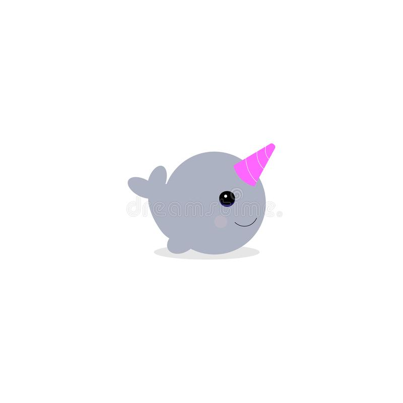 Vectoe illustraton. Cute cartoon magic narwhal isolated on white background. funny unicorn whale for child and cards. Vectoe illustraton. Cute cartoon magic vector illustration