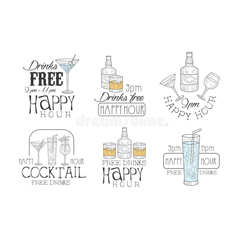 Vectoe set of original promotion signs for cocktail bar. Logos with bottles and glasses with drinks. Sketch style royalty free illustration