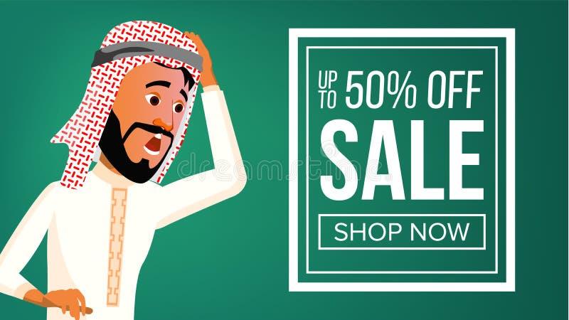Vector árabe de la bandera del hombre Traje tradicional Hombre de negocios árabe Para la postal, cubierta, diseño del cartel Ilus stock de ilustración