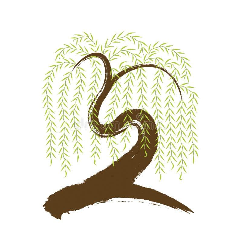 vector: árbol de sauce artístico del brushwork libre illustration