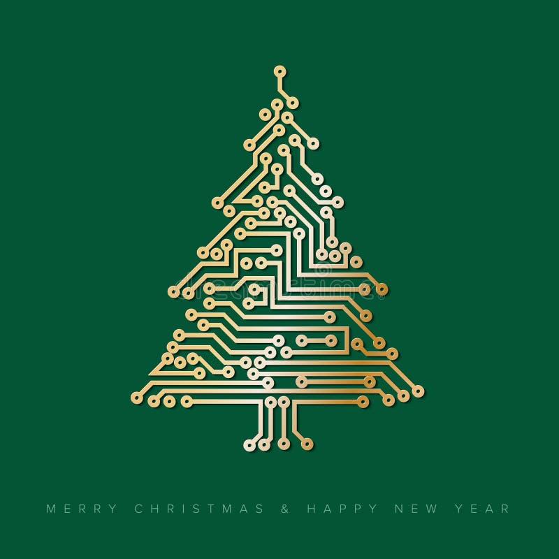 Vector a árvore de Natal do circuito eletrônico digital dourado ilustração do vetor