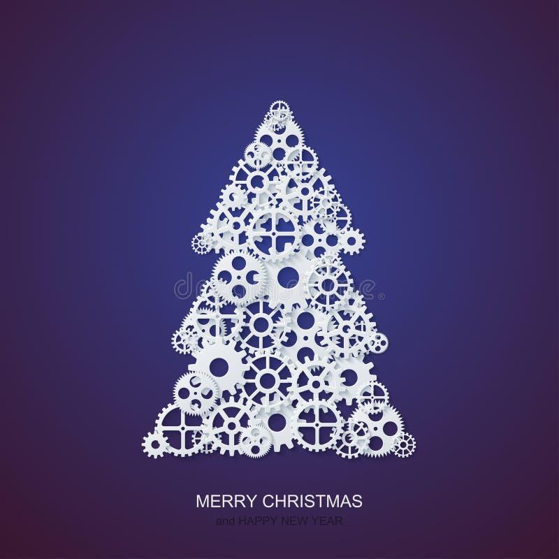 Vector a árvore de Natal do conceito e o fundo modernos das engrenagens do mecanismo Convite do xmas ou do ano novo feliz ilustração stock