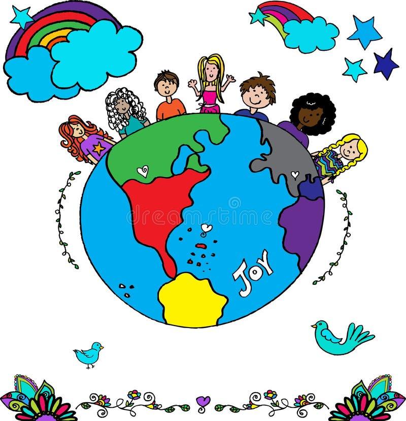 Vector étnico multi de los niños en todo el mundo stock de ilustración
