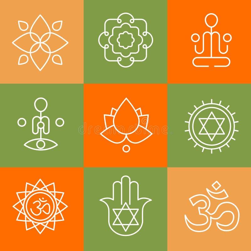 Vector ícones da ioga e linha crachás, projeto gráfico ilustração stock