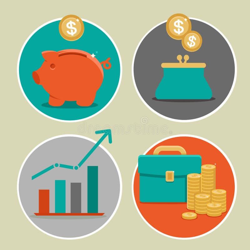 Vector ícones do dinheiro e do negócio no estilo liso
