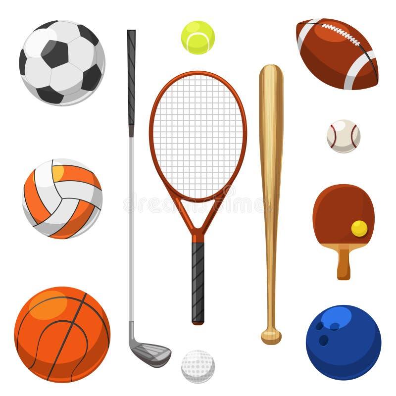 Vector ícones do equipamento de esporte Artigos dos exercícios dos esportes ilustração do vetor