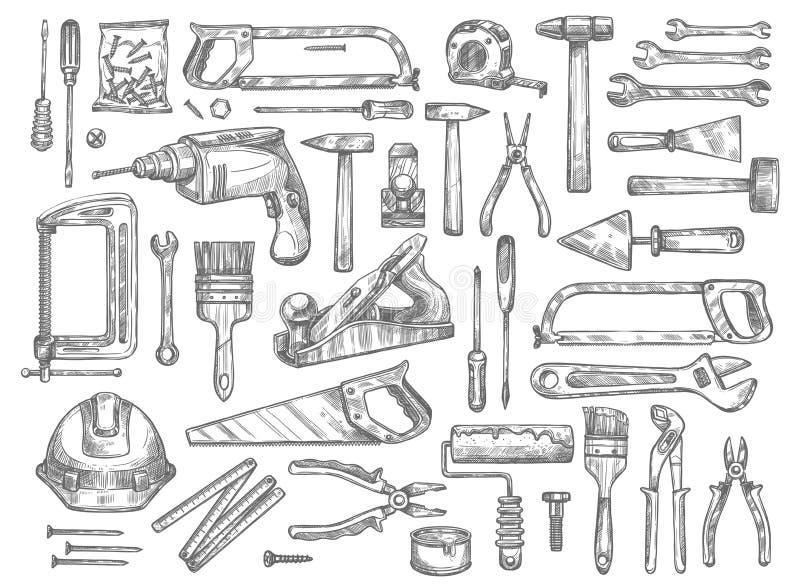 Vector ícones do esboço das ferramentas do trabalho para o reparo da casa ilustração do vetor