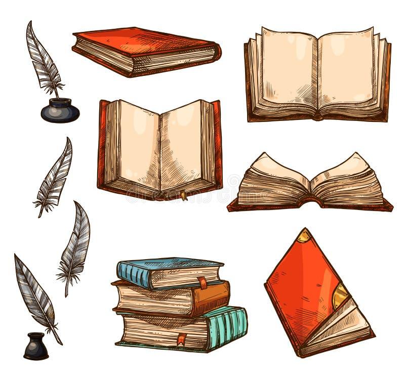 Vector ícones do esboço dos livros velhos e dos manuscritos ilustração royalty free