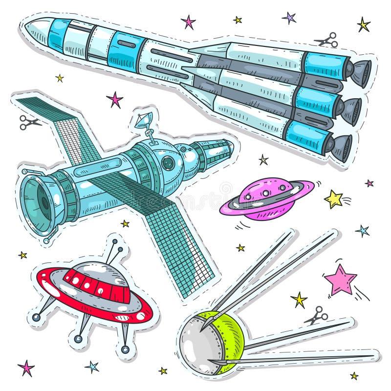 Vector ícones do estilo cômico da ilustração, etiquetas nave espacial, o foguete, o satélite e o UFO coloridos ilustração stock