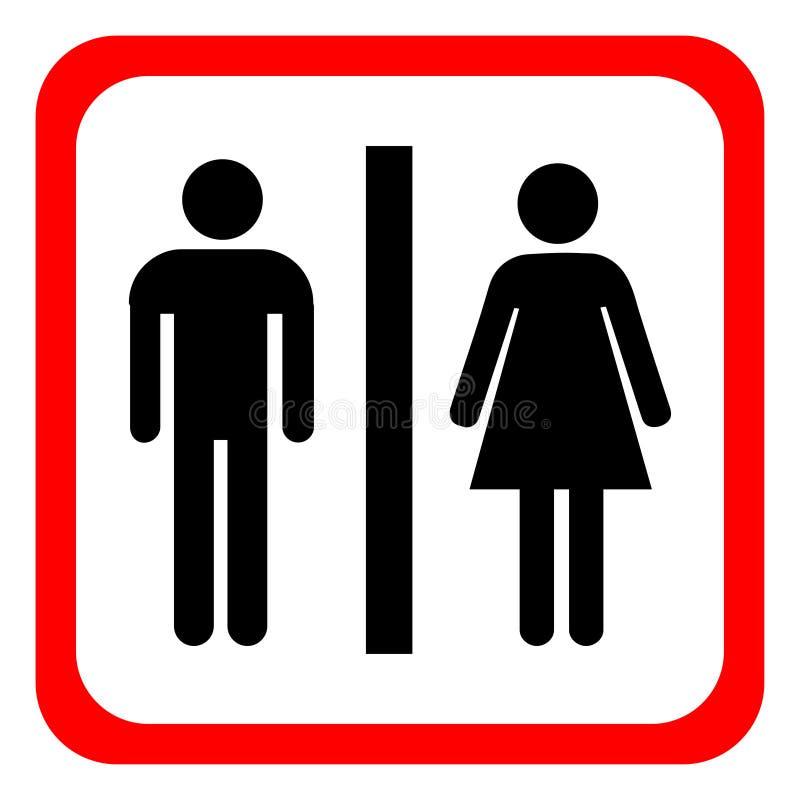 Vector ícones do homem e da mulher, sinal do toalete, toalete, estilo mínimo, pictograma ilustração royalty free