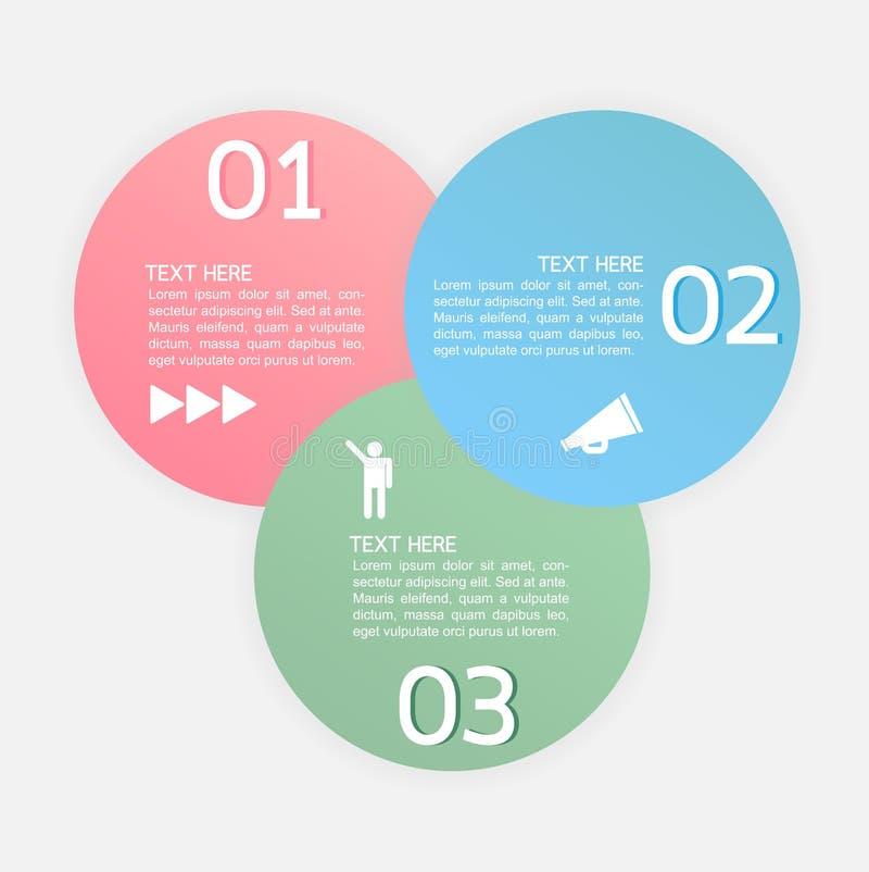 Vector ícones do progresso para três etapas ou opções ilustração royalty free