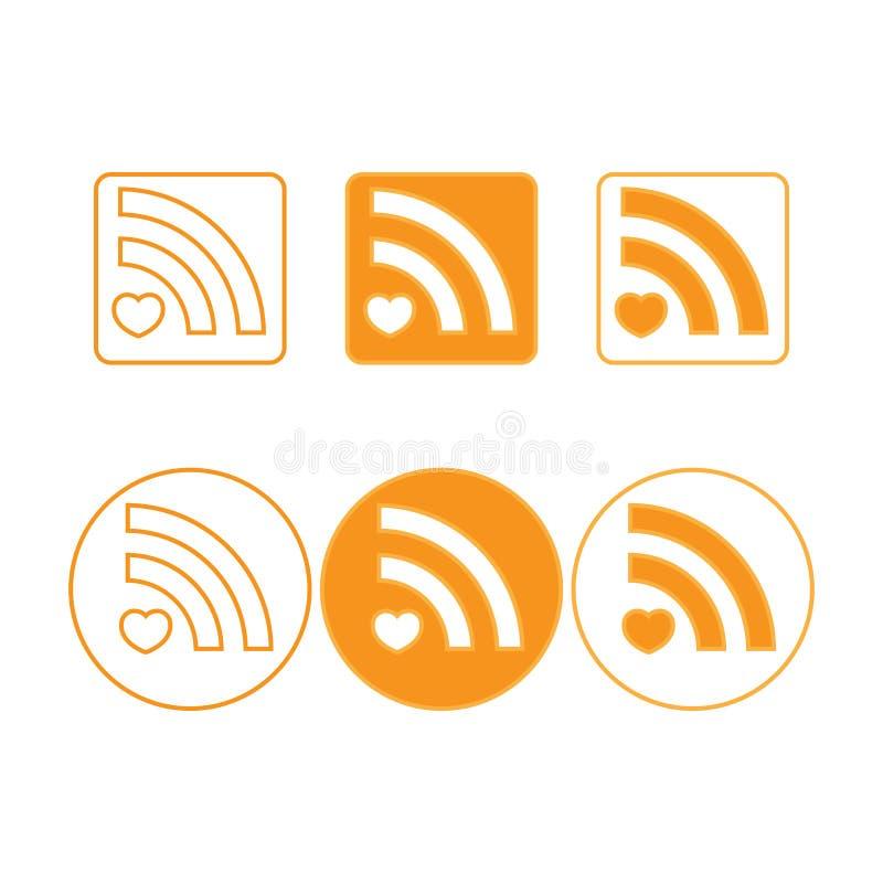 Vector ícones dos rss de circularmente e esquadre as formas, alaranjadas ilustração do vetor