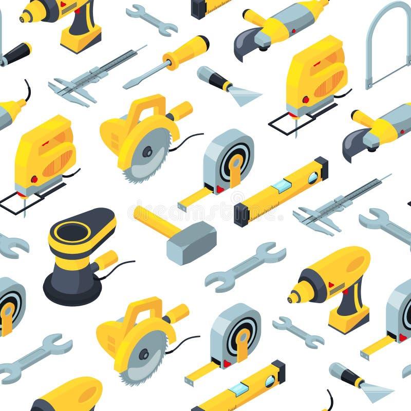 Vector ícones isométricos fundo das ferramentas da construção ou ilustração do teste padrão ilustração royalty free