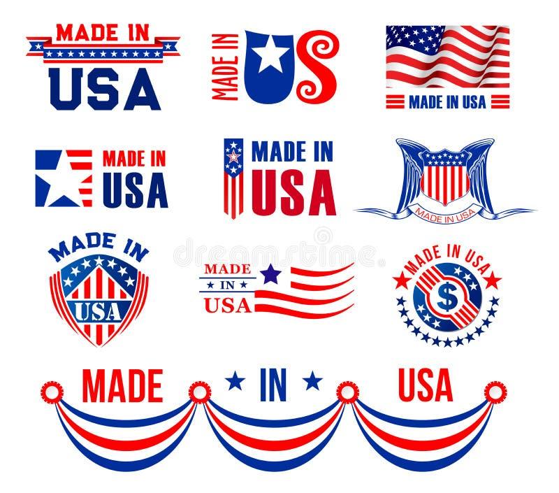 Vector ícones ou bagdes para feito nos EUA ilustração do vetor