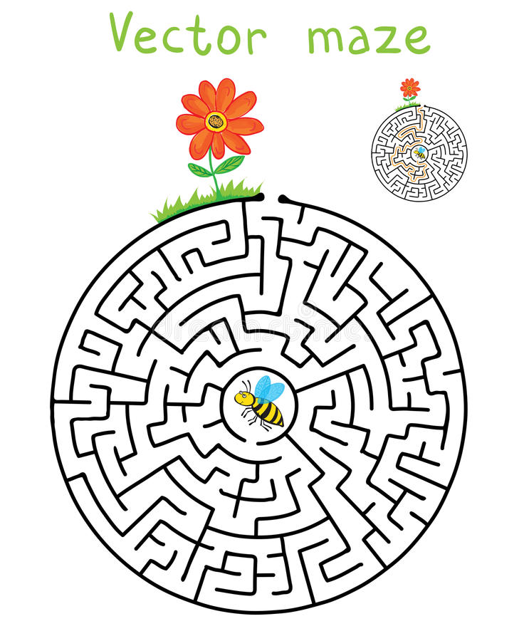 Vector лабиринт, лабиринт с пчелой летания и цветок иллюстрация вектора