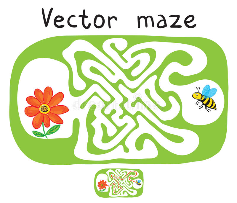 Vector лабиринт, лабиринт с пчелой летания и цветок иллюстрация штока
