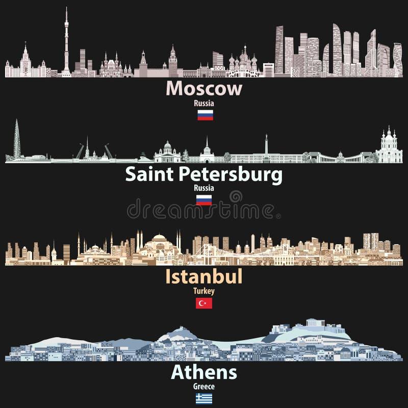 Vector абстрактная иллюстрация Москвы, Санкт-Петербурга, Стамбула и горизонты городов Афин на ноче в ярких цветовых палитрах иллюстрация вектора