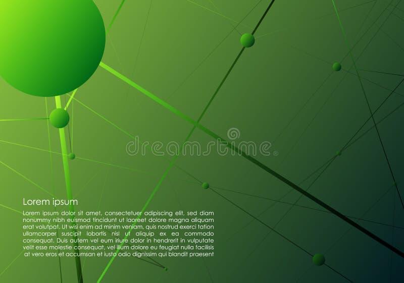 Vector абстрактная предпосылка с зелеными точками и линиями иллюстрация штока