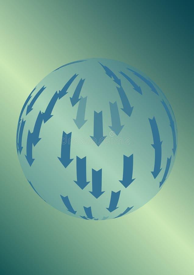 Vector абстрактная предпосылка с прозрачной сферой и стрелки на зеленом градиенте иллюстрация штока