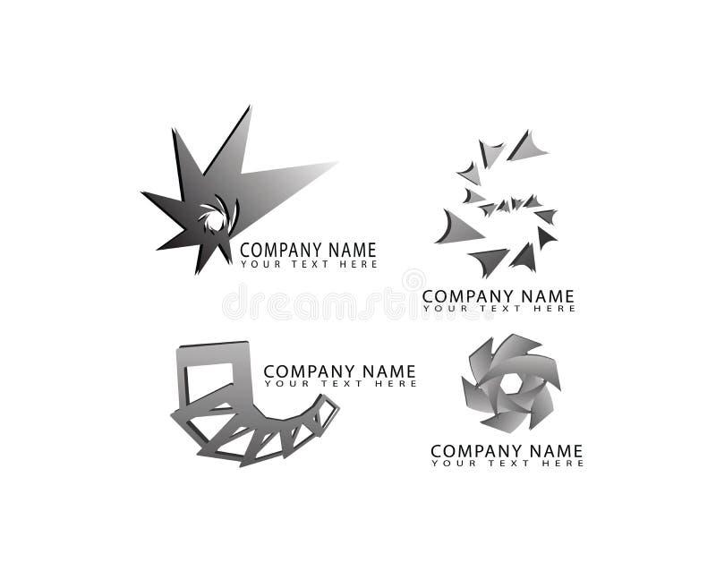 Vector абстрактная стрелка, круг, квадрат, звезда, значки логотипа формы свирли установленные для идентичности корпоративных и де иллюстрация вектора