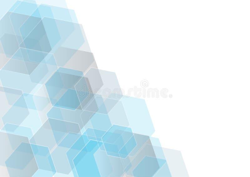 Vector абстрактная geomatic форма, голубой дизайн техника шестиугольника Предпосылка вектора иллюстрация вектора