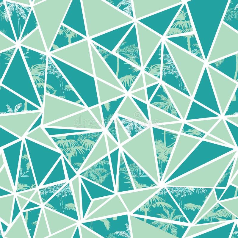 Vector абстрактные тропические пальмы и дизайн картины повторения треугольников безшовный Большой для современной ткани, обоев иллюстрация штока