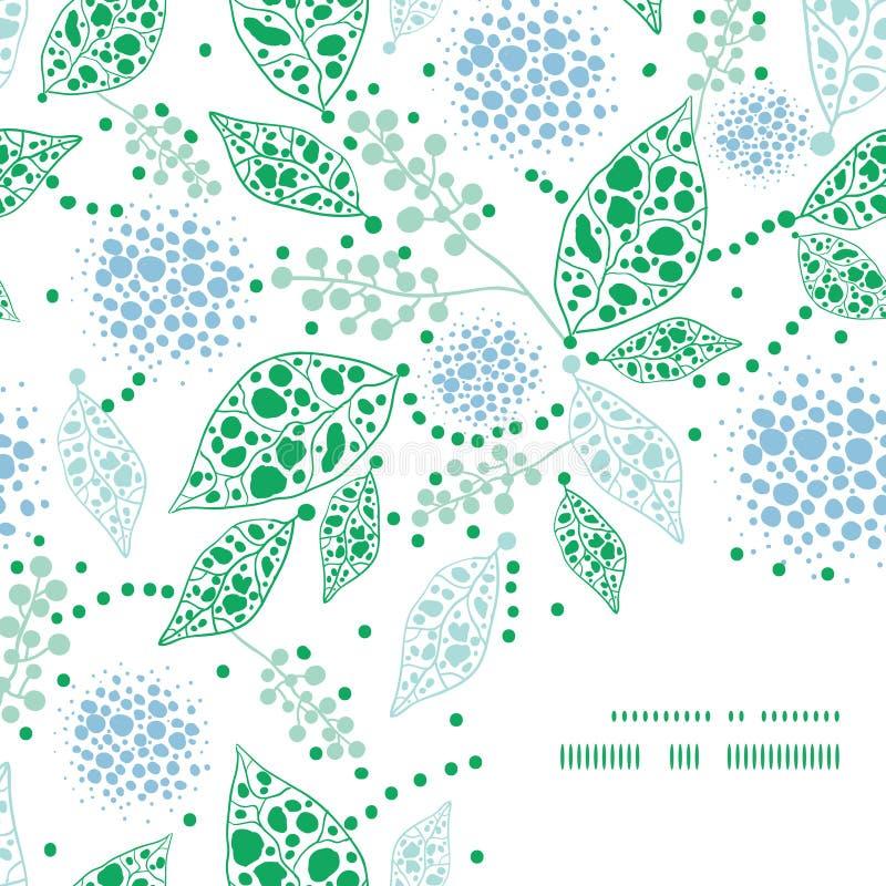 Vector абстрактный голубой и зеленый угол рамки листьев иллюстрация штока