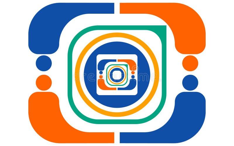Vector абстрактный логотип цвета от различных геометрических форм апельсина, зеленого цвета, сини, белой в форме камеры действия бесплатная иллюстрация