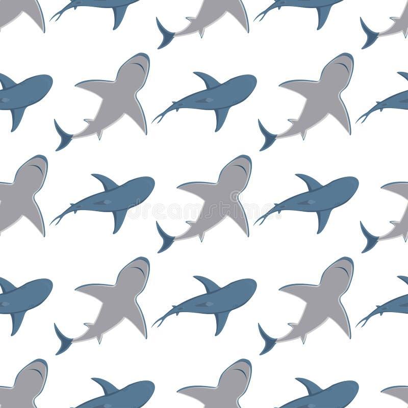 Vector акулы заплывания иллюстрации талисман живой природы характера рыб моря зубастой сердитой животный под водой милый морской бесплатная иллюстрация