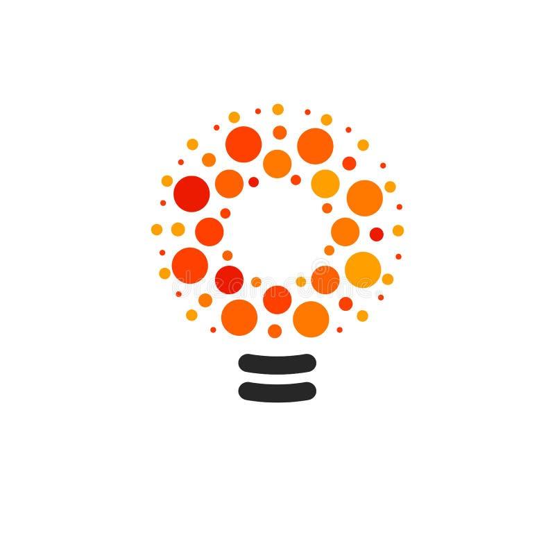 Vector лампочки с линией, точками и логотипом луча Новый символ идеи, красочные логотипы Плоский абстрактный яркий шарик шаржа иллюстрация штока