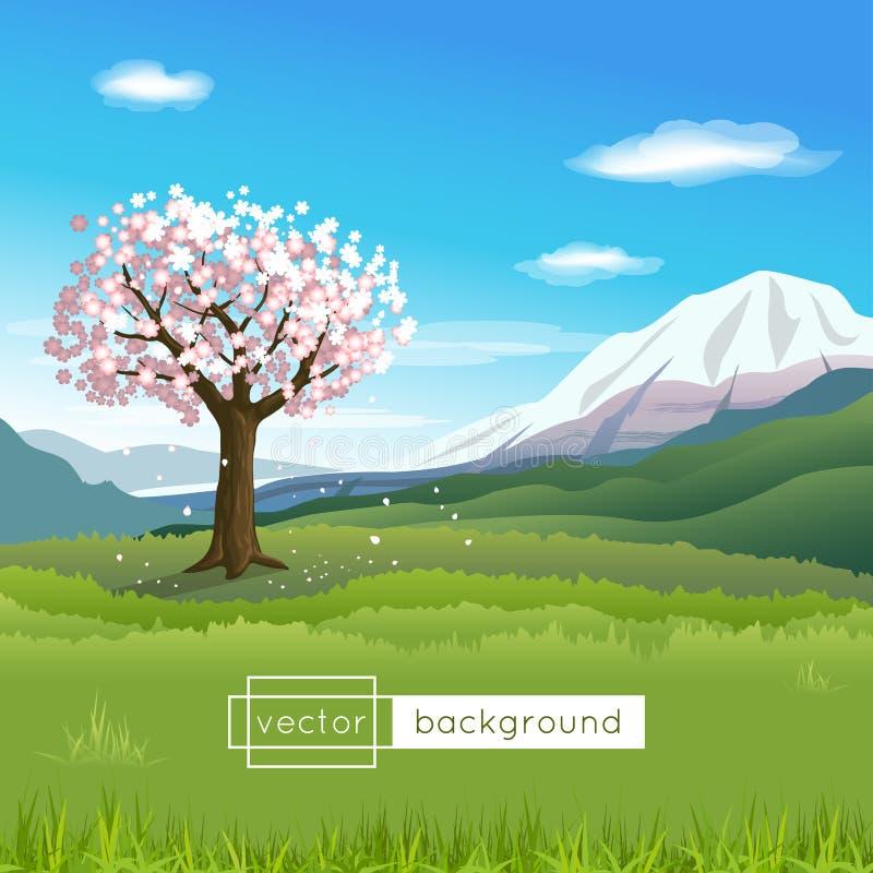 Vector ландшафт с зацветая деревом, горами, голубым небом, облаками и зеленой травой бесплатная иллюстрация
