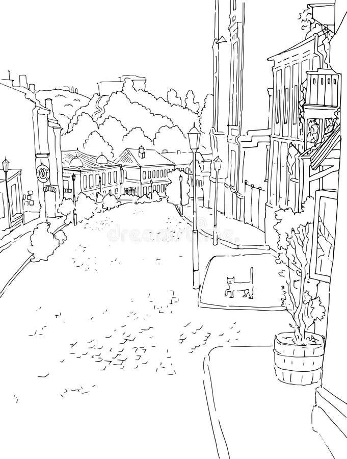 Vector ландшафт monochrome городка города эскиза городской старой улицы St Andrew s в Киеве Украине иллюстрация вектора