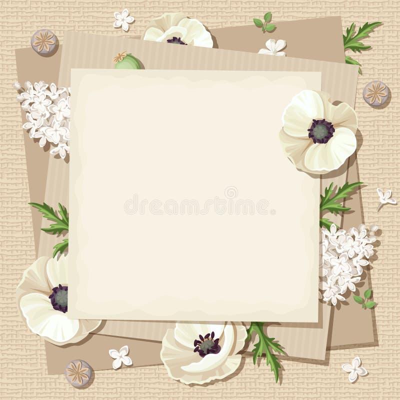 Vector бежевая карточка с белыми цветками на предпосылке увольнения Eps-10 иллюстрация штока