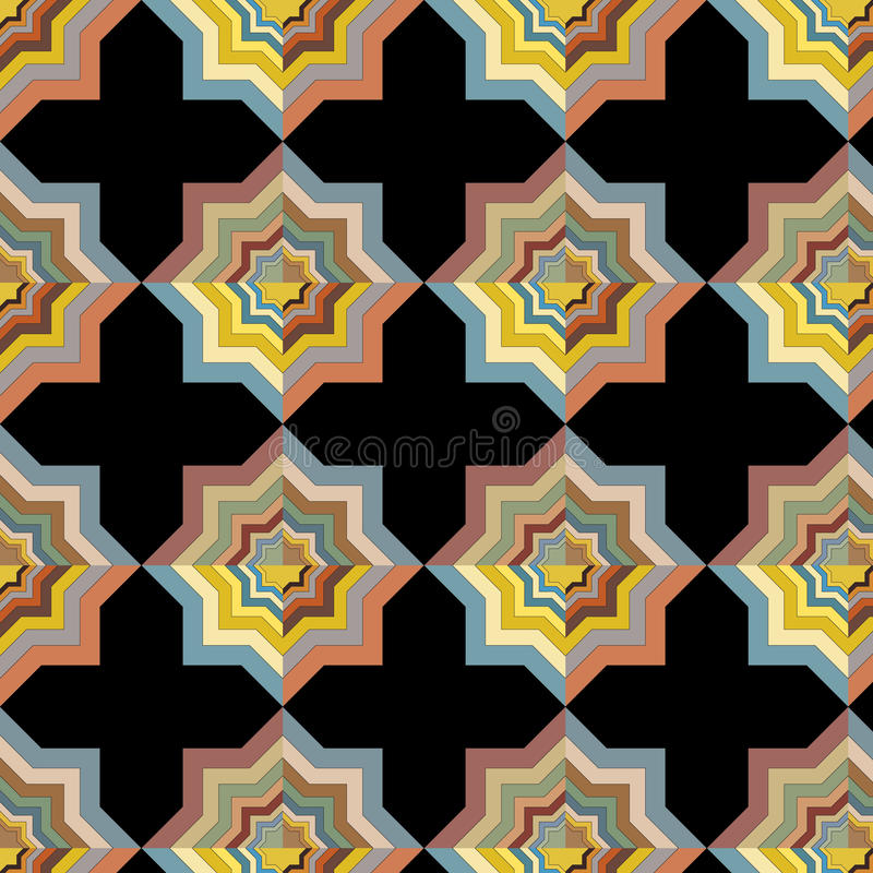 Vector безшовная абстрактная плитка повторяя красочную оптически картину на черной предпосылке иллюстрация вектора