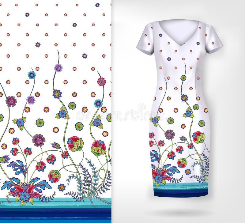 Vector безшовная вертикальная картина с декоративным орнаментом, рукой нарисованная текстура для одежд, постельных белиь, приглаш иллюстрация вектора